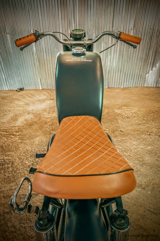 Faux leather seat - custom Yezdi Dochaki Designs Pune